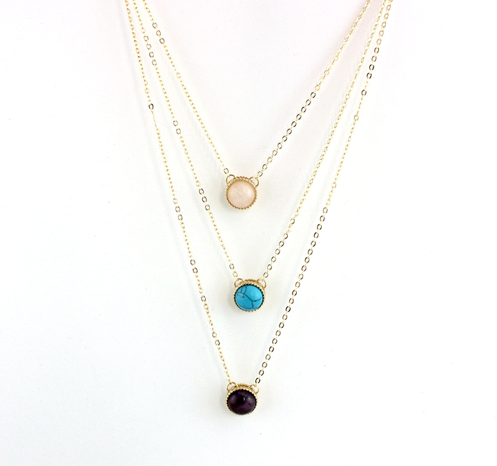 Delicate pink quartz pearl turquoise citrine pendant three layered necklace