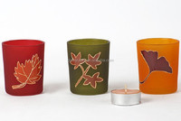 Stained paper printed painted glass candle holder for decoration