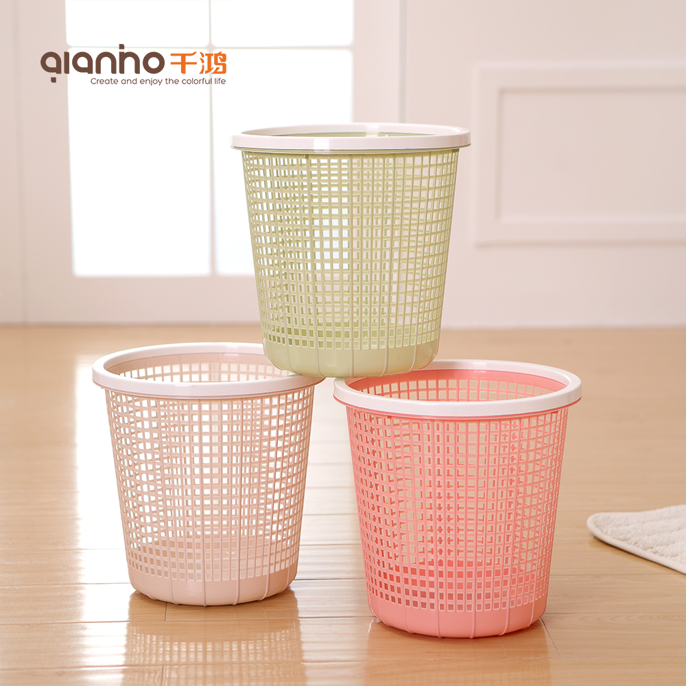 Cheap mesh wastebasket wire rubbish bin plastic waste paper basket without lid for sale
