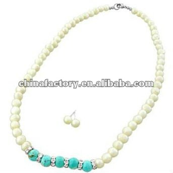fashion long white pearl Neck necklace with Purple stone