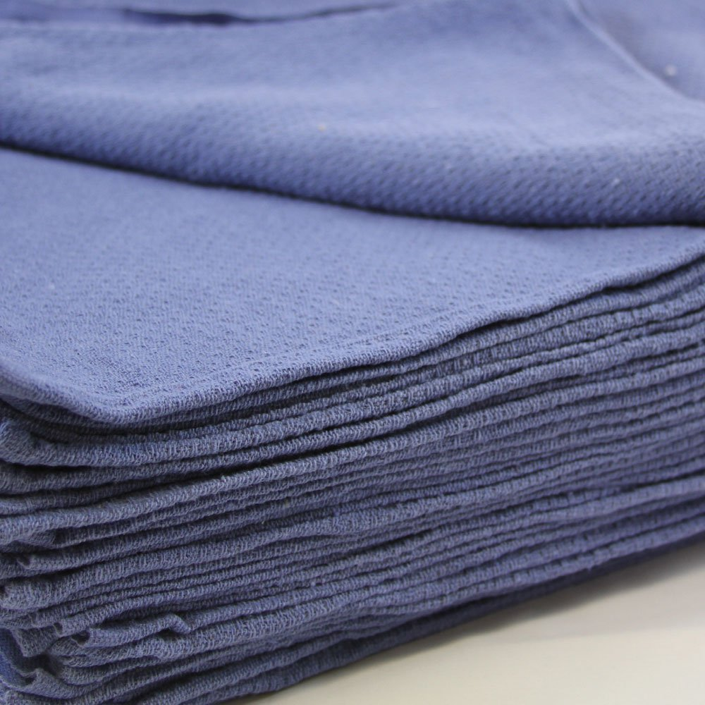 """Huck Towels Blue-Commercial -50 Piece Pack -16""""x 24""""- NEW 100% Cotton Super Absorbent-Lint Free-**Free Shipping**"""