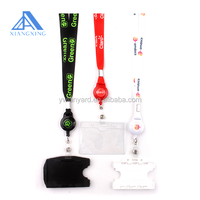 Black Fushing 5 Pcs Retractable Reels Key Chains Lanyards Neck Strap Band for ID Badge Holder for Business School Event