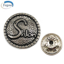 Factory Direct Custom Design Raised Logo Antique Silver Metal Jeans Button for Clothes