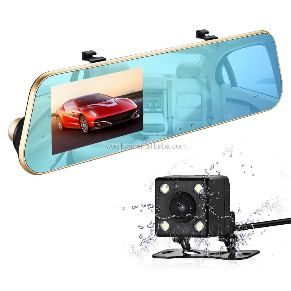 "With CE FCC Certificate 6G lens night vision Dual lens 4.3"" car dvr 1080P priviate mould"