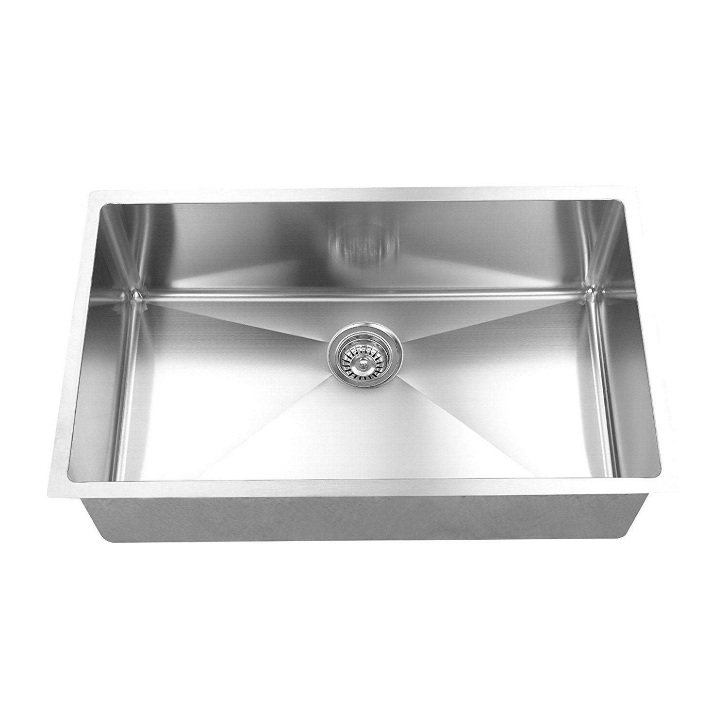 BOANN UMR3018 Hand Made 16 Gauge R15 Single Bowl Undermount 304 Stainless Steel Kitchen Sink with Grid, 30 x 18""