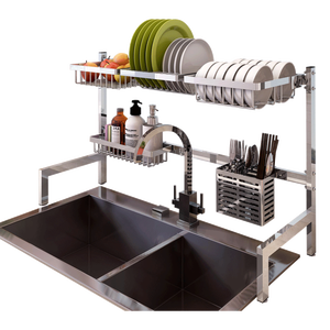 Antimicrobial Drying Tray Dish Holder Sink Stainless Steel Plate Rack