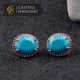 Big vintage red blue stone color stud earrings for woman in brass or 925 sterling silver