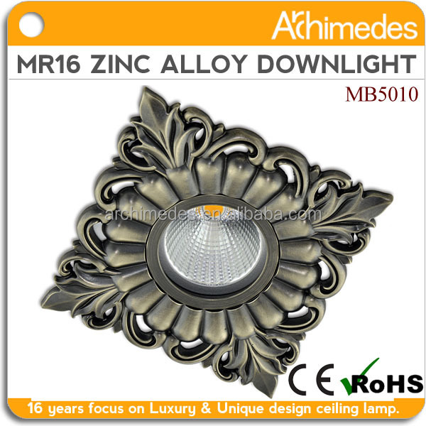 Classic zinc alloy living room lamp luxury ceiling lamp mr16 and cob square led ceiling light