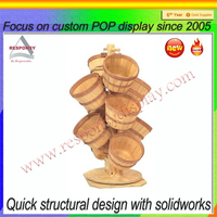 Free Standing Wood Small Barrel Display Stand for Bulk Candy/Nut