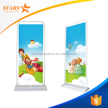 Cheap White Metal Frame Floor Display Standhanging Stand Roll Up