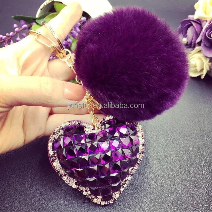 Heart shape rhinestone key chains drop-down bar keyring With rabbit fur pompom