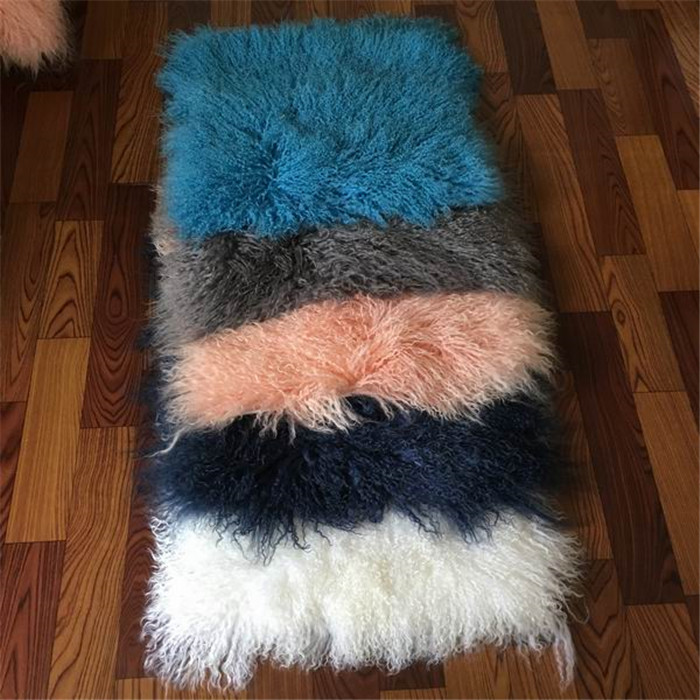 Entertainment Memorabilia Wholesale Curly Long Hair Tibetan Mongolian Sheepskin Fur Rug