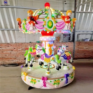 Big discount indoor amusement games coin operated kiddie rides 3 seats 6 seats mini carousel for sale