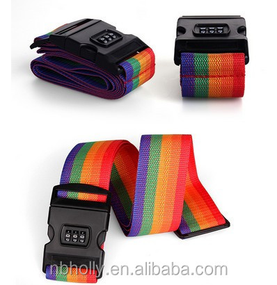 Rainbow combination lock straps nylon ribbon packing belt