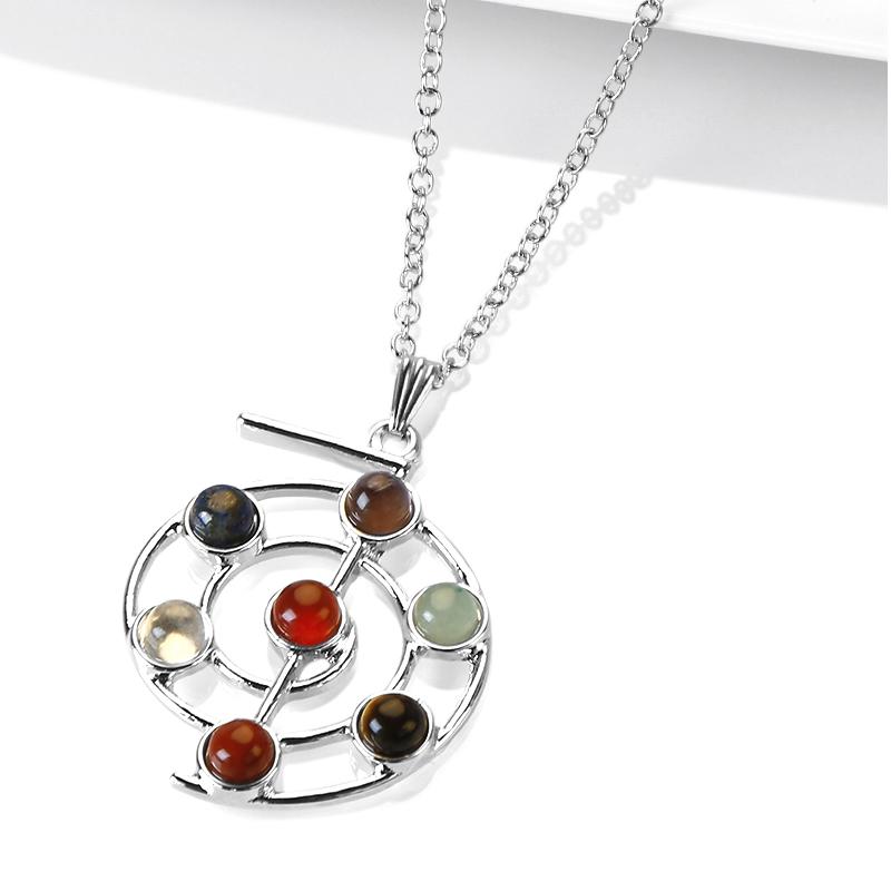 7 Gemstones Balance Reiki Chakra Necklace Wheel of Life Amulet Pendant Chain