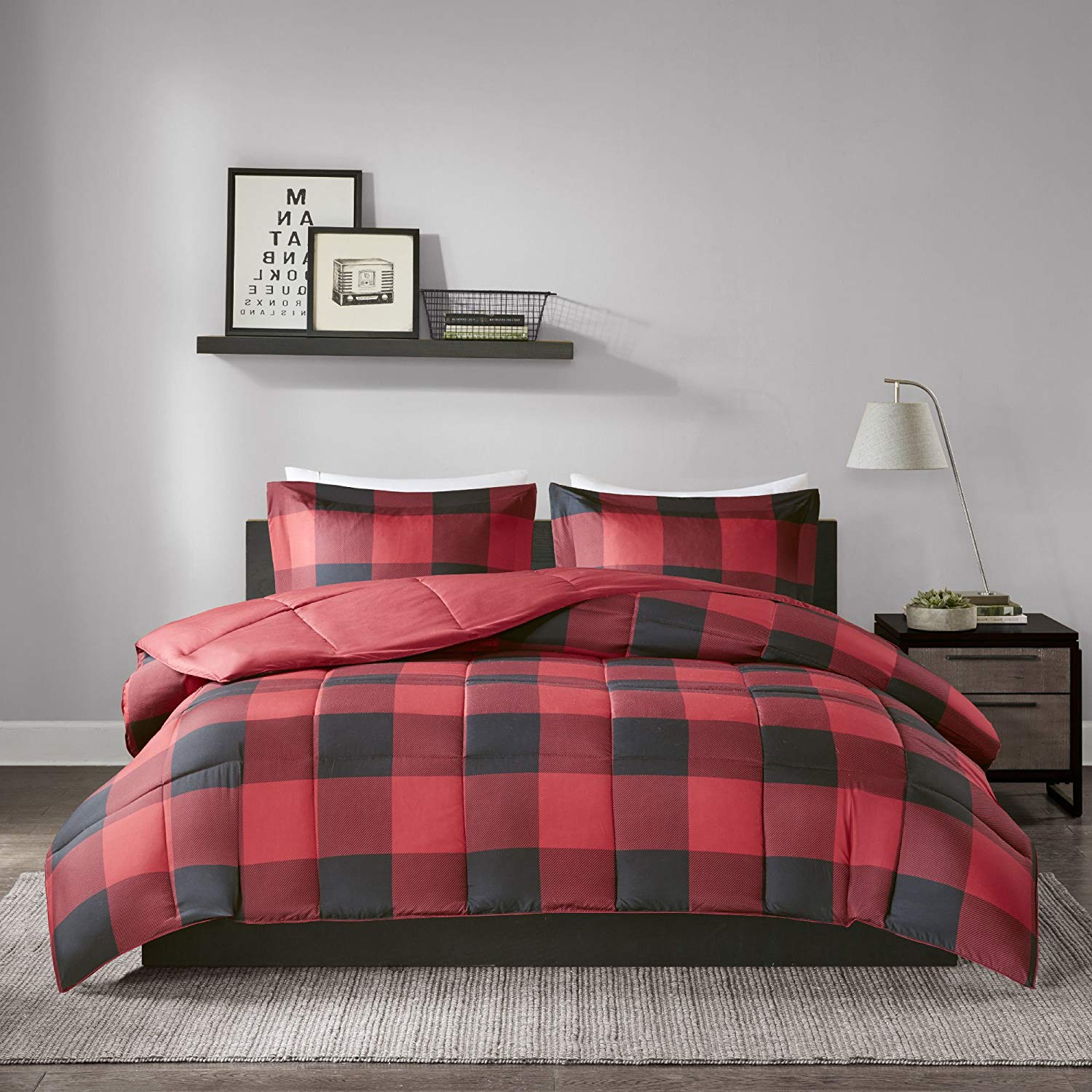 MPN 3 Piece Black Red Plaid Comforter King/Cal King Set, Cabin Themed Bedding Lumberjack Pattern Squares Lodge Rustic Cottage Tartan Checkered Checked Lightweight, Microfiber