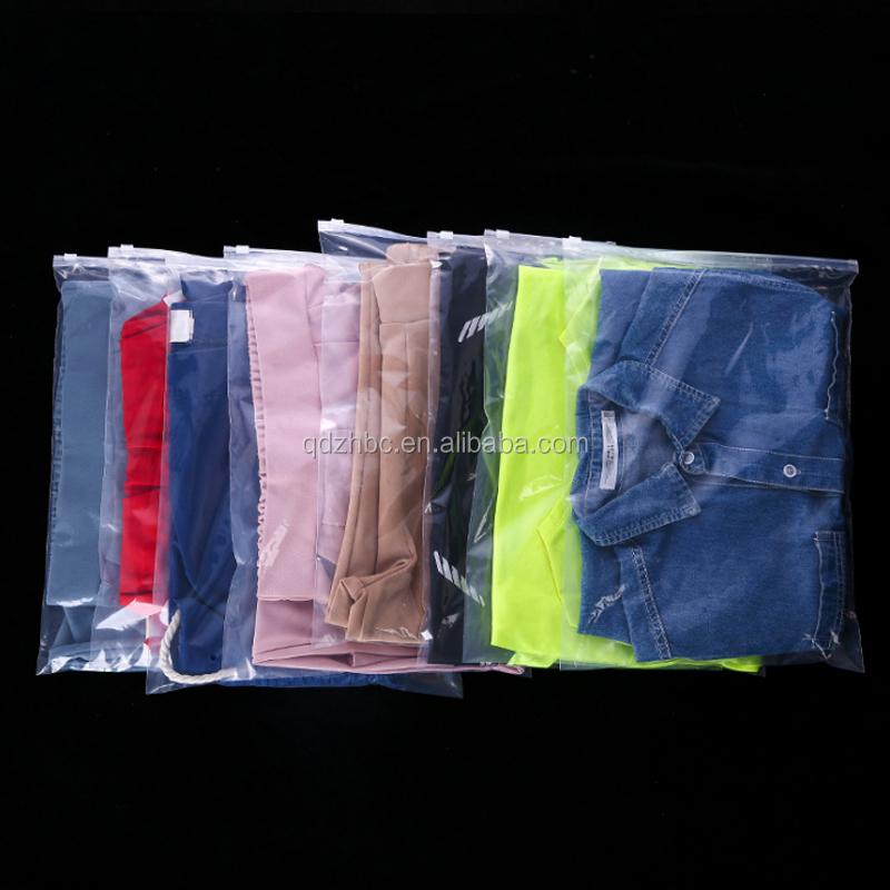 custom packaging clothes Poly Clear Slider clothes plastic packing bag T-shirt packing bag