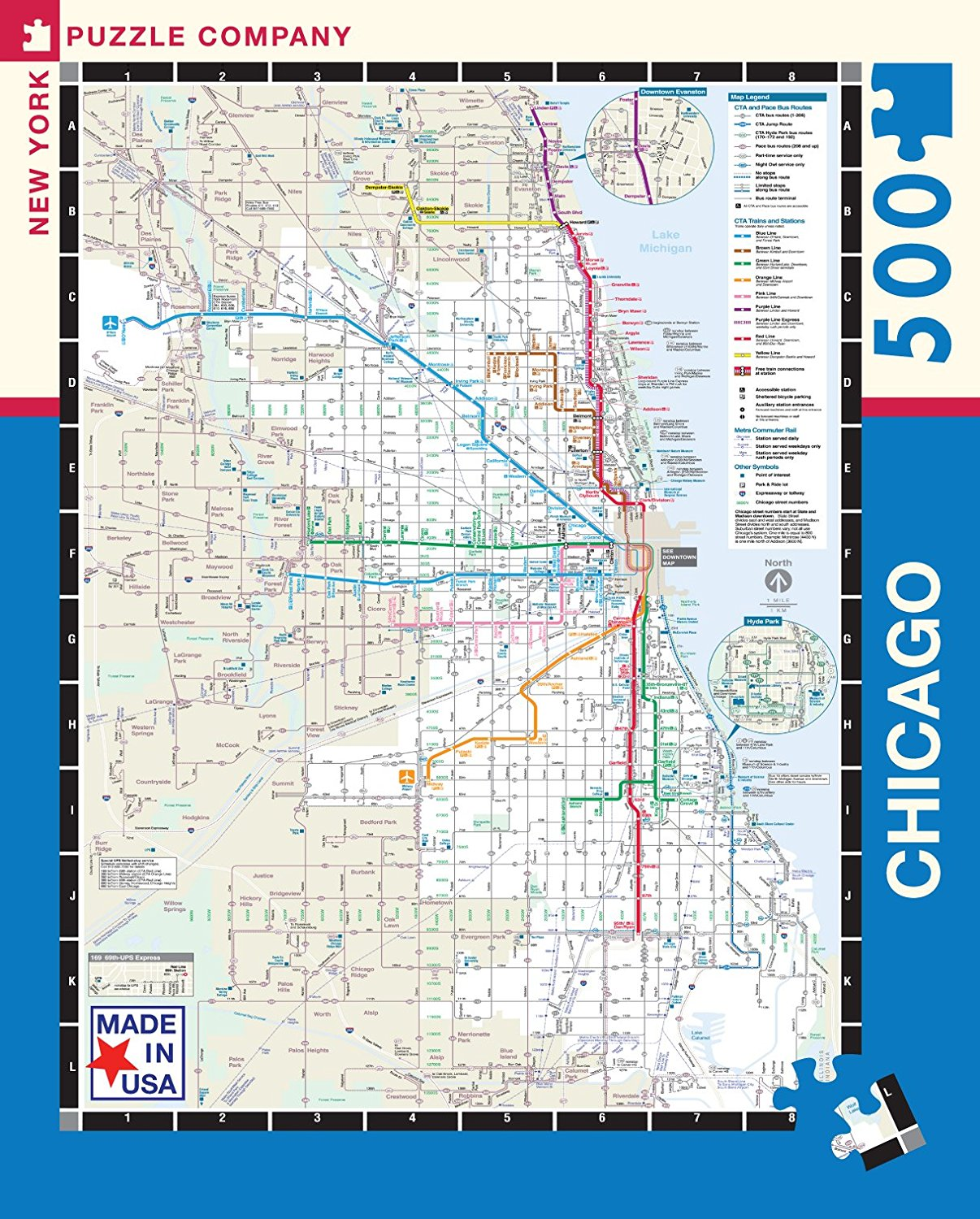New York Puzzle Company - Chicago Transit CTA Transit Puzzle - 500 Piece Jigsaw Puzzle