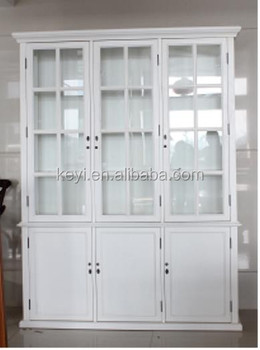 Antique Home Useful Living Room And Study White Wooden Gl Tall Display Cabinet With