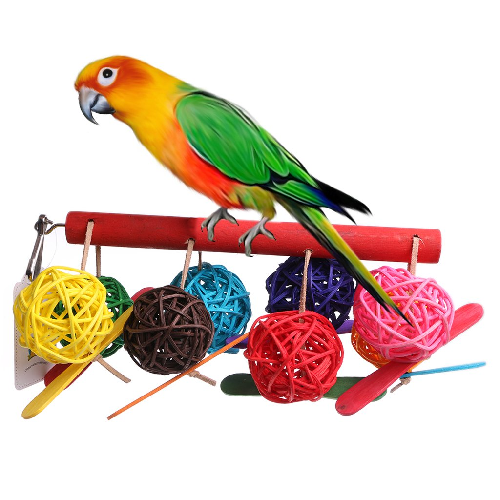 """NNDA CO Colorful Pet Parrot Toy Bird Bell Ball For Parakeet Cockatiel Chew Fun Cage Toys,23x10cm/8.97x3.9"""",1Pc"""