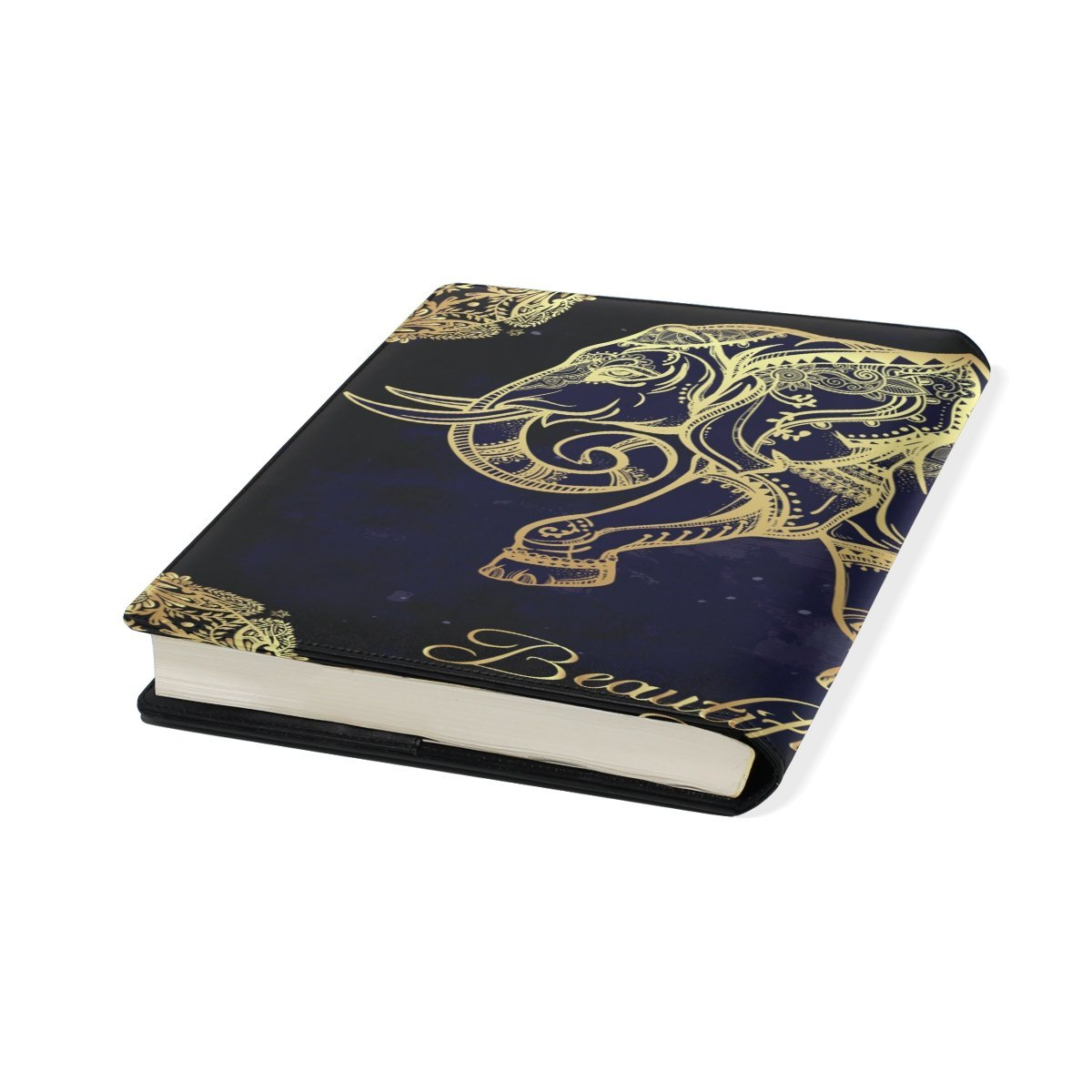 Sunlome Ornate Indian Elephant Pattern Stretchable PU Leather Book Cover 9 x 11 Inches Fits for School Hardcover Textbooks