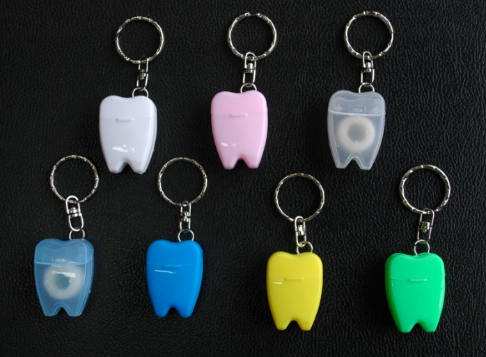 Oempromo wholesale tooth shaped dental floss keychain
