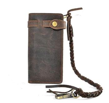 Mens Wallet with Genuine Leather Long Bifold Trucker Wallet Vintage Biker Money Clip