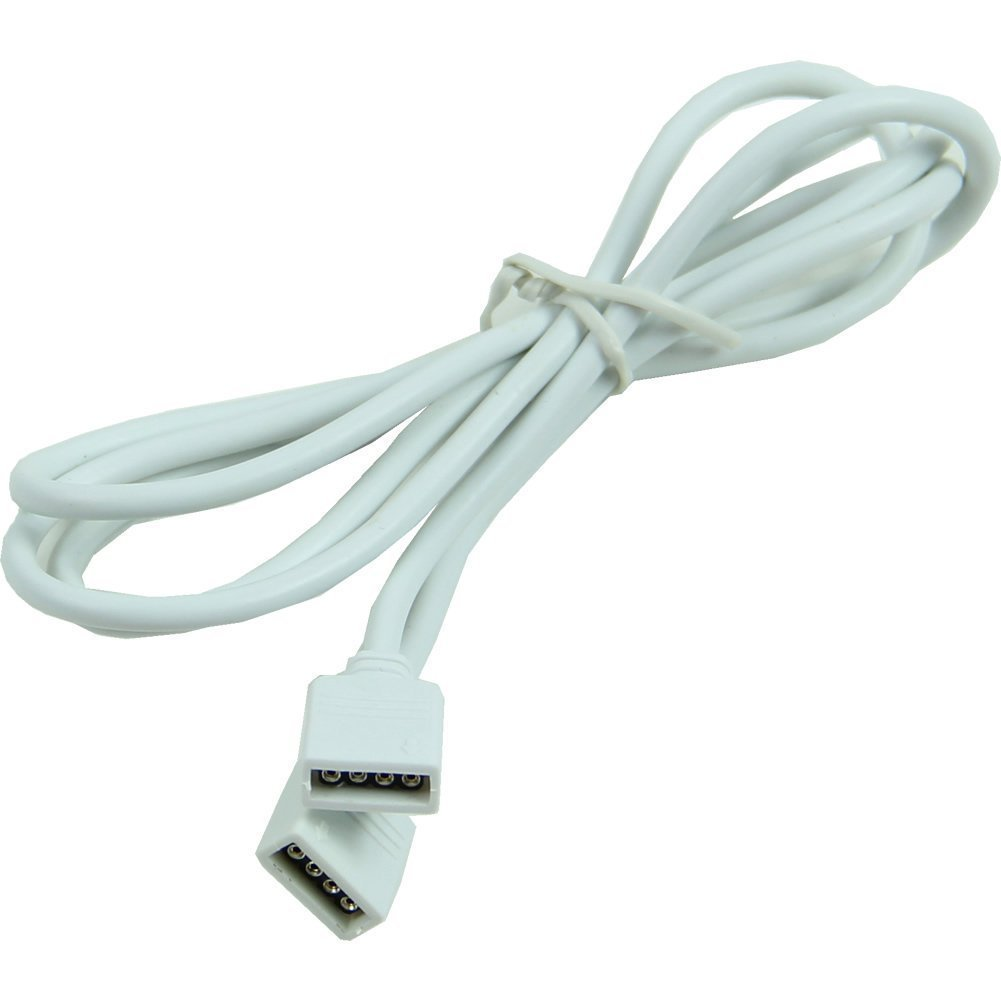 SODIAL(R) 1M 4 Pin White Extension Connection Cable Wire For SMD 5050 3528 RGB LED Strip Light