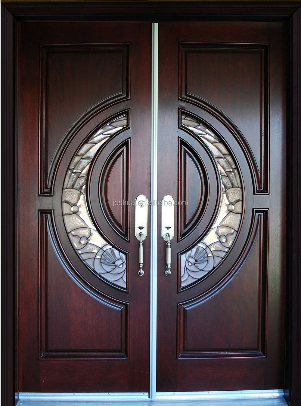 100% exterior Mahogany Tiffany frosted triple pane glass Wood Door Exterior Front Entry Double House double main wooden door