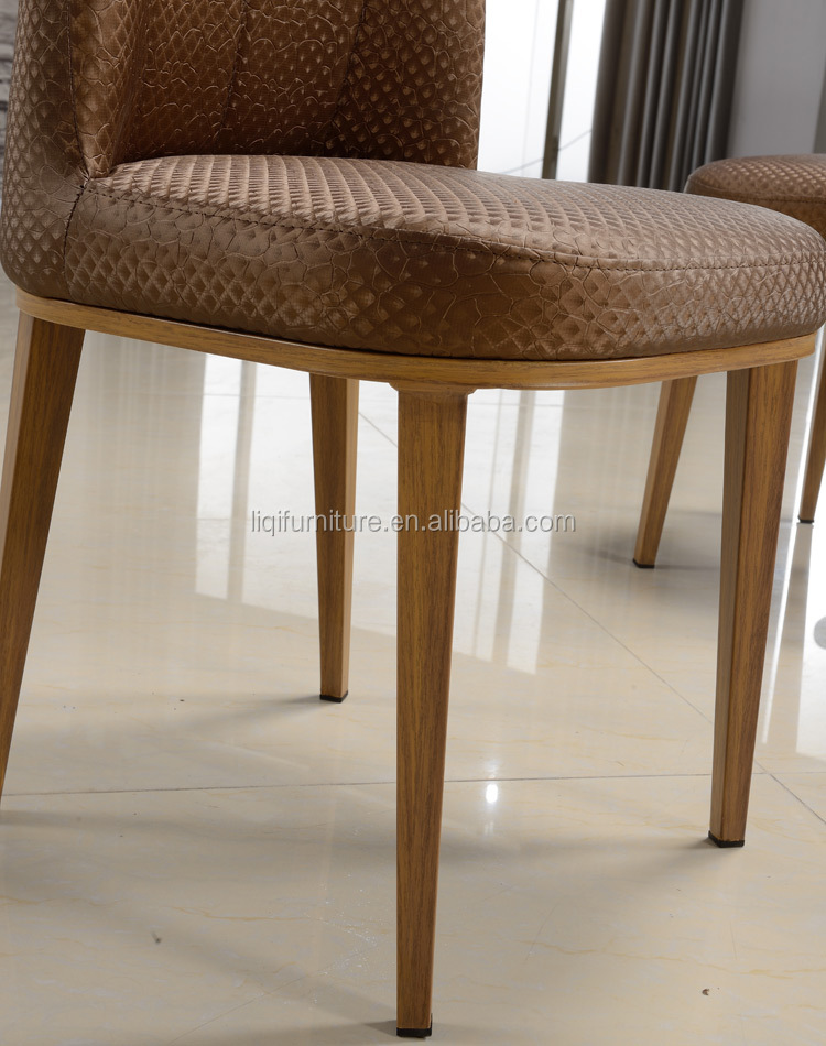 high quality woodgrain stainless steel leather dining chair LQ-QT200
