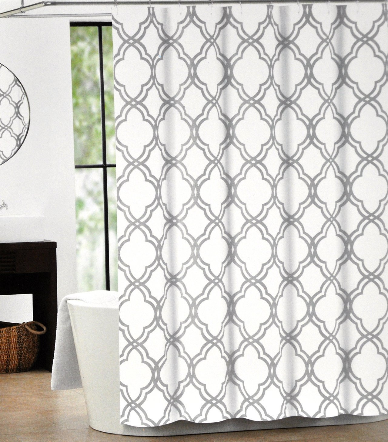 Get Quotations Max Studio Home Cotton Shower Curtain Moroccan Tile Quatrefoil Gray And White Lattice 72 Inch