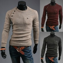 2014 spring of new Korea multi Placket splicing casual men's slim leisure sweater fashion .size M-XXL hoodies