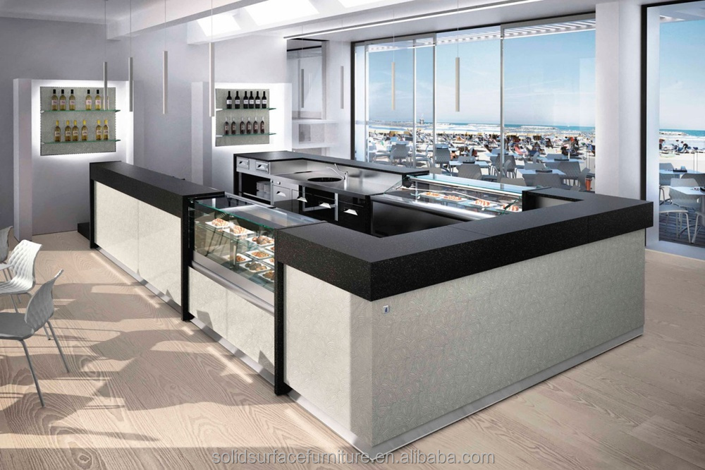 Commercial Modern Restaurant Reception Desk Combined With
