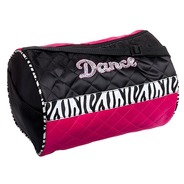 Turquoise Small Cylinder Dance Bag Quilted With Zebra Bow