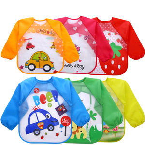 Cute Baby Bibs Long Sleeve Art Apron Animal Smock Children Bib Burp Clothes Soft Feeding Eat Toddler Waterproof Baberos