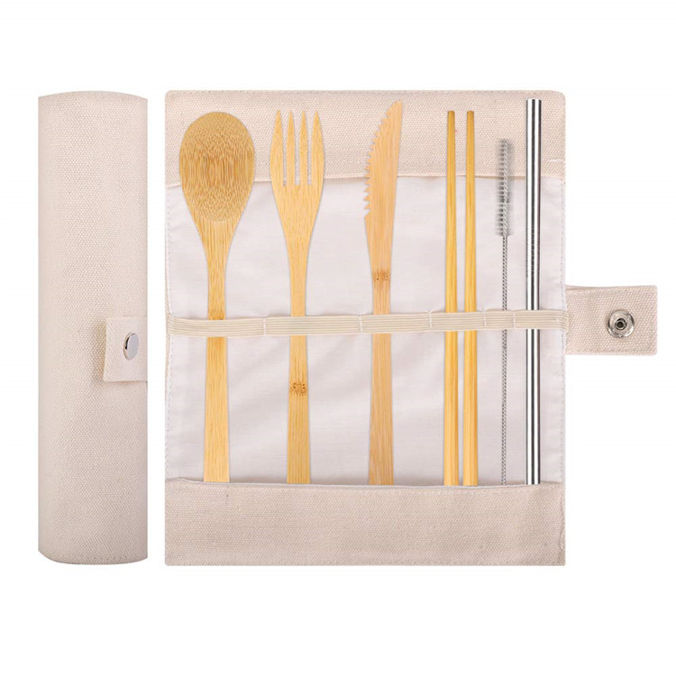 Wholesale ECO Friendly Travel Portable Reusable Bamboo Cutlery Set With Utensils Knife Fork Spoon Straws Chopsticks Brushes Bag