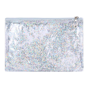 Glitter PVC Makeup Zipper Pouch Pencil Case Cosmetic Bag Clear Toiletry Bag