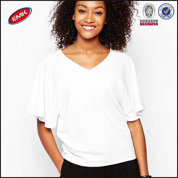 3352e10312bd cheap wholesale china women fashion clothing v neck plain white t-shirt