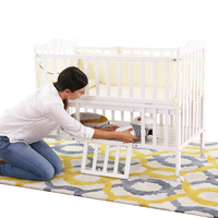 Hot sale height adjustable multifunction solid wooden baby crib