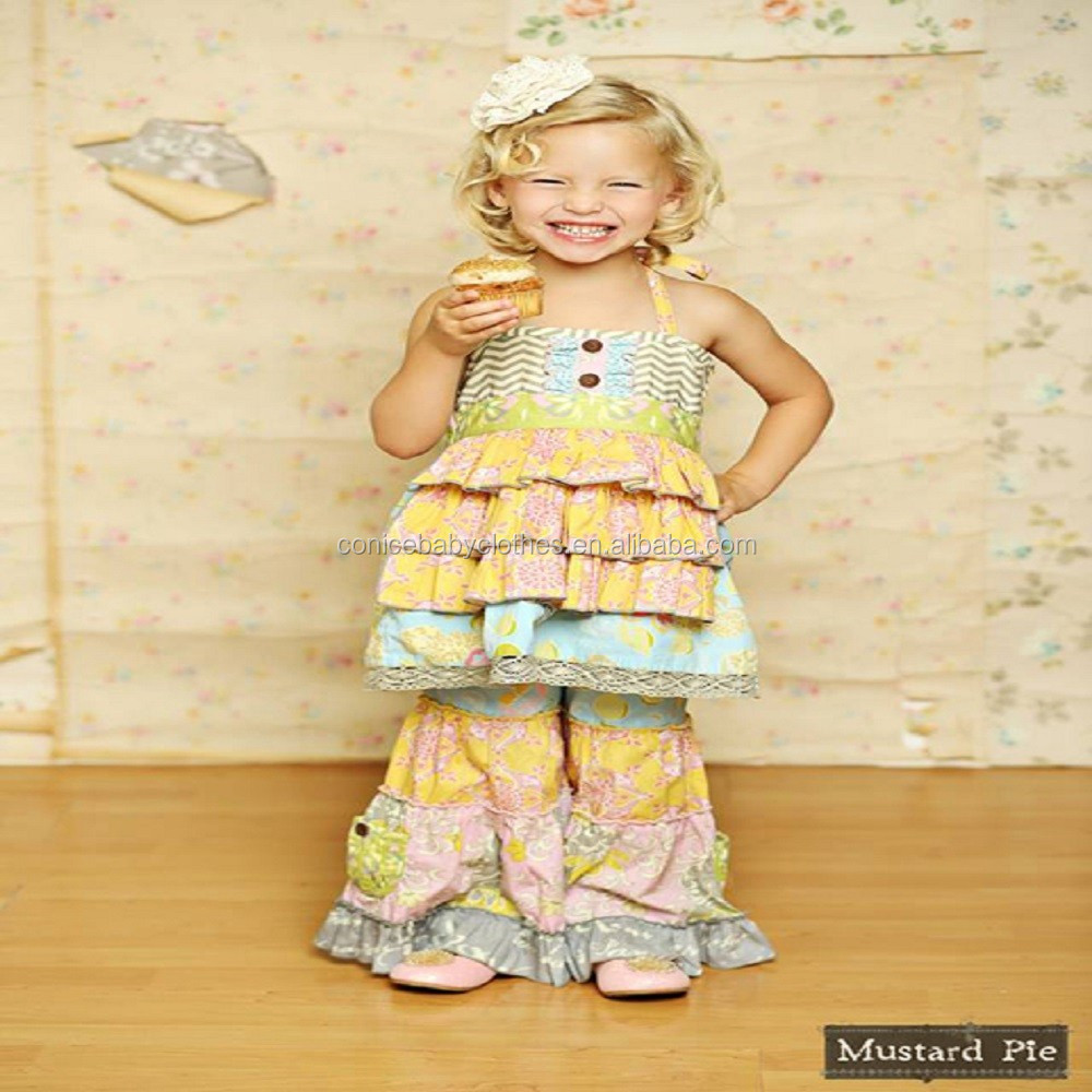 American style little girls summer stripes pants 4th of July boutique outfits