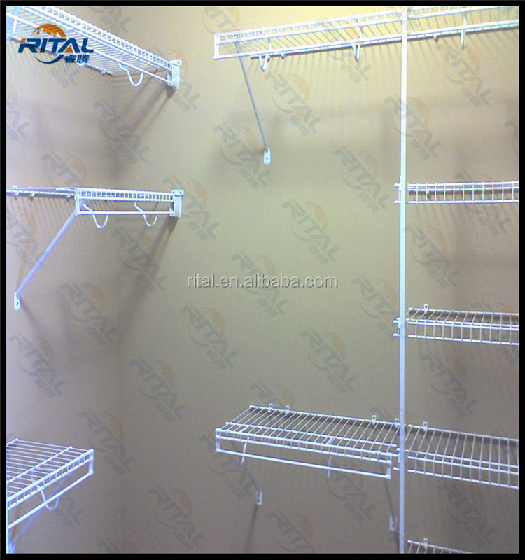 white color closet maid wire shelving with metal shelf