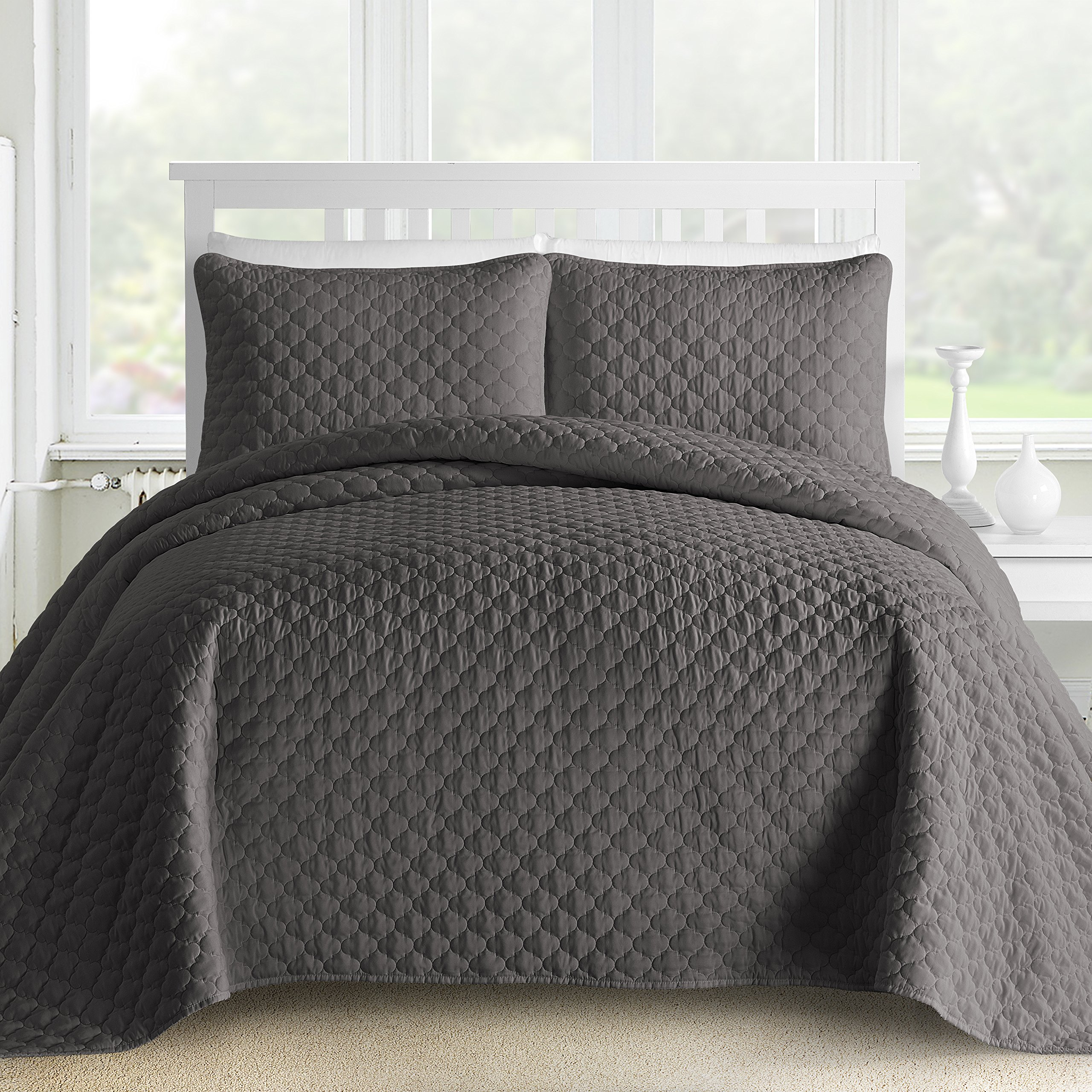 Get Quotations Comfy Bedding Oversized And Prewashed Lantern Ogee Quilted 3 Piece Bedspread Coverlet Set King