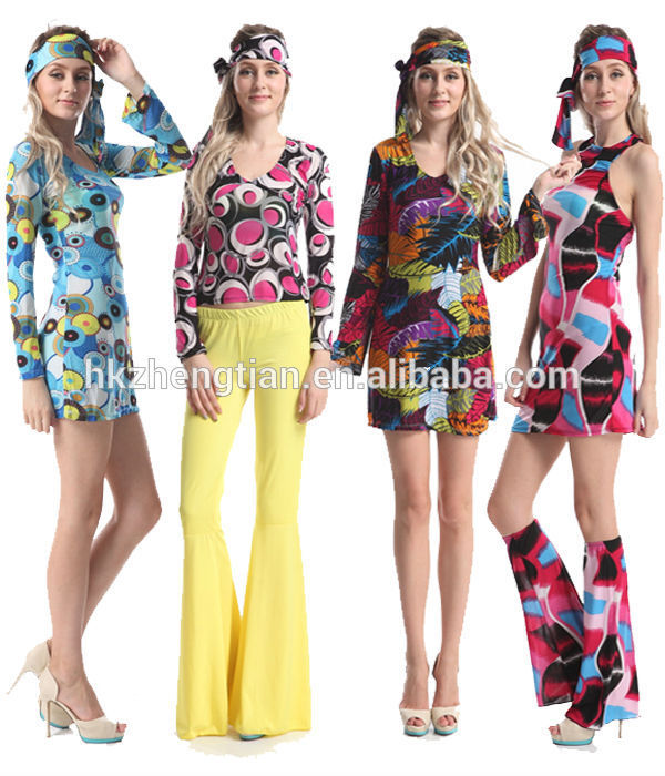 ADULT WOMENS 60/'S 70/'S RETRO FLOWER POWER DISCO GO GO GIRL GROOVY HIPPIE COSTUME