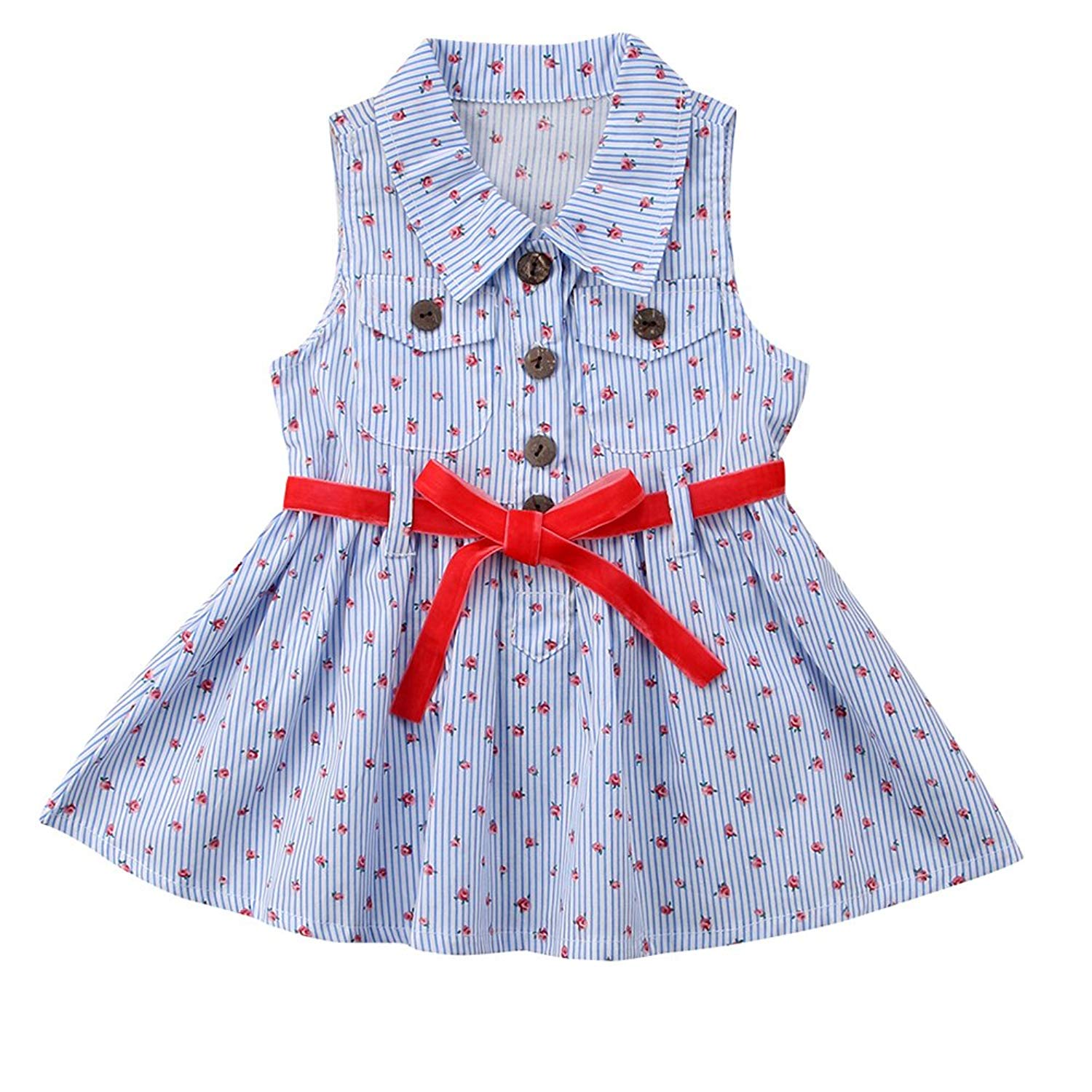 SHITOU Kid Baby Girls Princess Dress Embroidery Solid Sleeveless Formal Dresses
