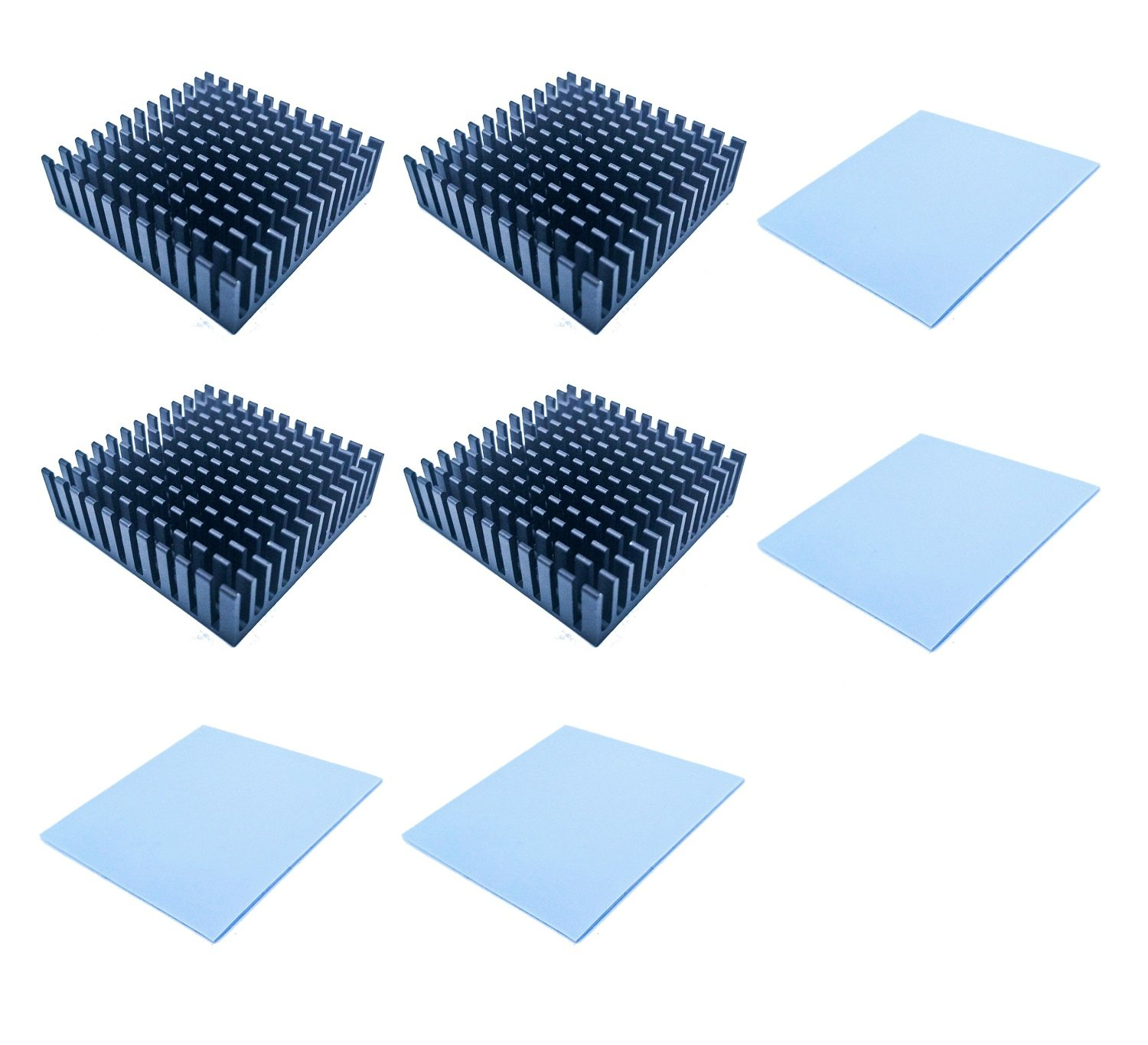 Easycargo 40x40x11mm Heatsink Kit, Cooler Heat Sink + Silicone Based Thermal Pad (40mmx40mm) (Black 4-Pack)