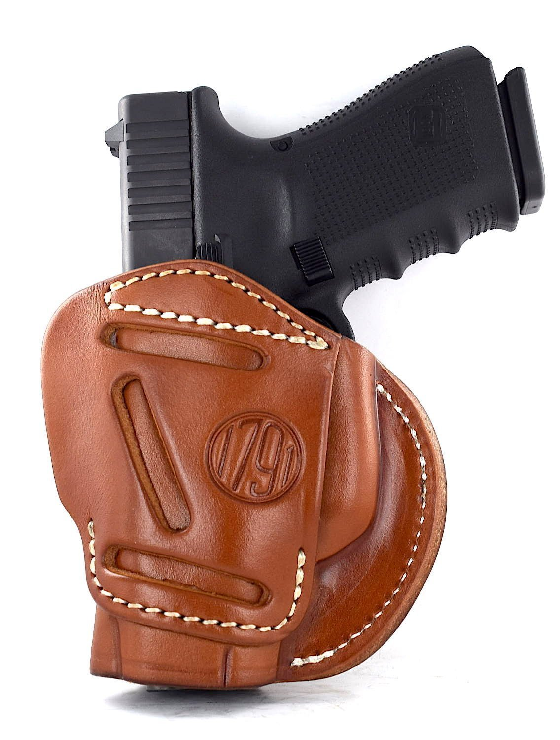 1791 GUNLEATHER 3-WAY Glock 26 Holster - OWB CCW Holster Ambidextrous - Right or Left Handed Leather Gun Holster - Fits Glock 25, 26, 27, 29, 30, 32, 33 (3WAY SIZE 3)
