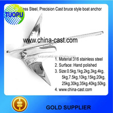 Hot sale polishing stainless steel 50kg bruce anchor for marine