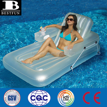 Inflatable Kickback Adjustable Lounger Pool Floating Lounge Chair With  Drink Holder Swimming Pool Lounge Chair Outdoor