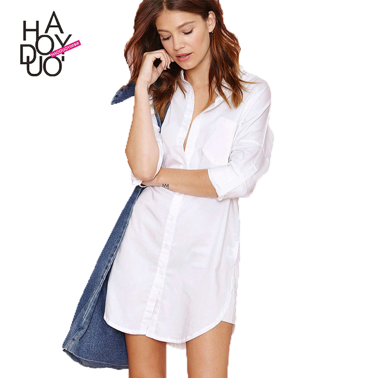 HAODUOYI Fashion Sexy Women Longline Shirt Short Sleeve Turn-Down Collar Relaxed Tops Casual Sleep Shirt for Wholesale