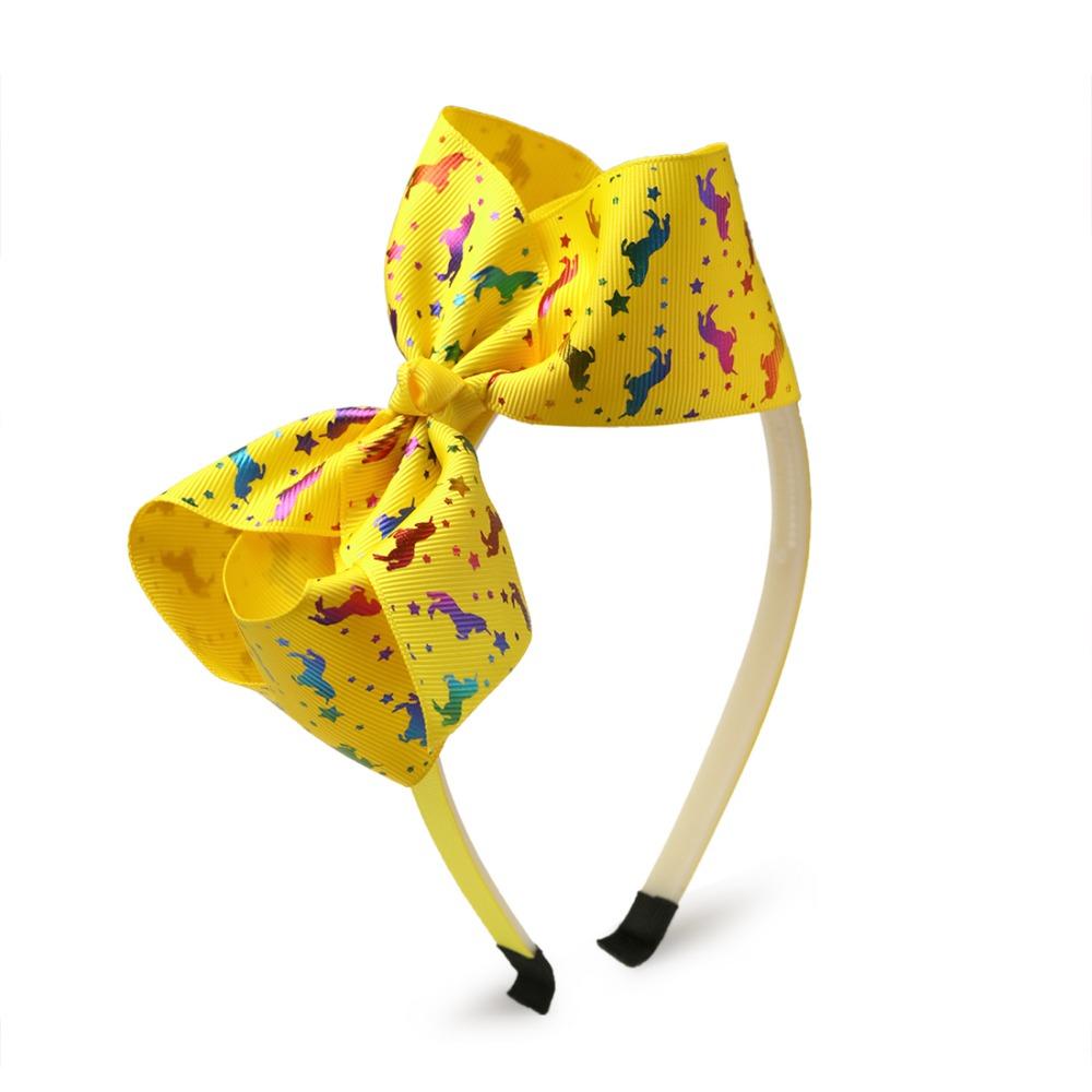 Hot Stamping Unicorn Bows Hairbands Cartoon Print Grosgrain Ribbon Hair Bows